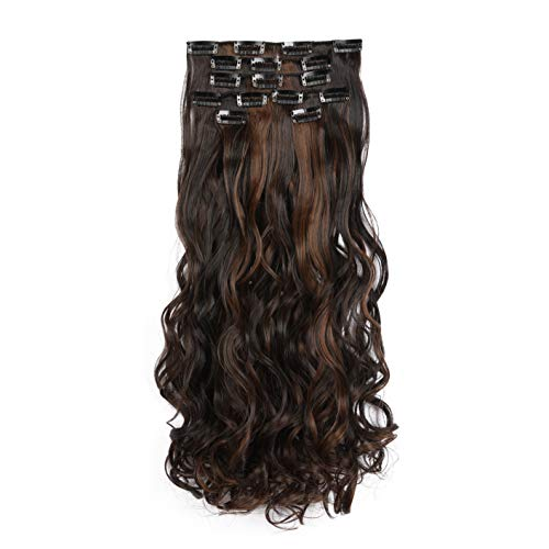 """Onedor 20"""" Curly Full Head Clip in Synthetic Hair Extensions 7pcs 140g (2H7)"""