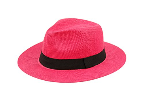 Wide Brim Paper Straw Fedora, Classic C Crown Panama Sun Hat with Grosgrain Band and Adjustable Drawstring (One Size Fits Most) (Hot Pink)