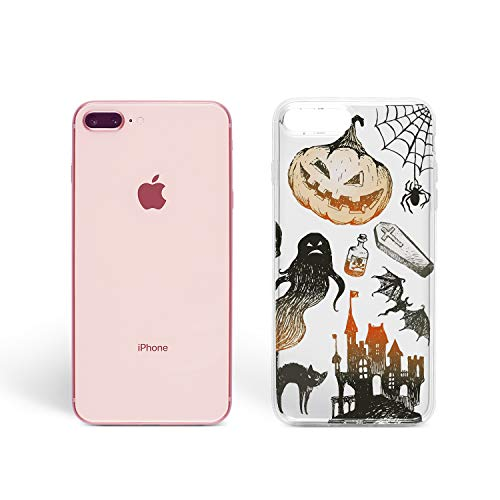 ZizzStore Halloween Case for Apple iPhone Protective Case Clear Transparent Silicone Flexible Design Art Gift Trick or Treat Pumpkin (Halloween Symbols, iPhone XR)
