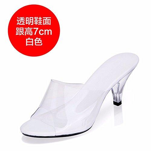 FLYRCX Personalidad de la moda europea simple zapatilla fresca de verano damas transparente tacones altos a