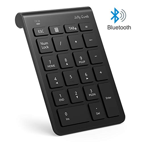 Bluetooth Number Pad, Jelly Comb N030C 22-Key Portable Slim Bluetooth Wireless Numeric Keypad with Multi-Function Keys for Tablet, Laptop, Notebook, PC, Desktop N030C-(Black)