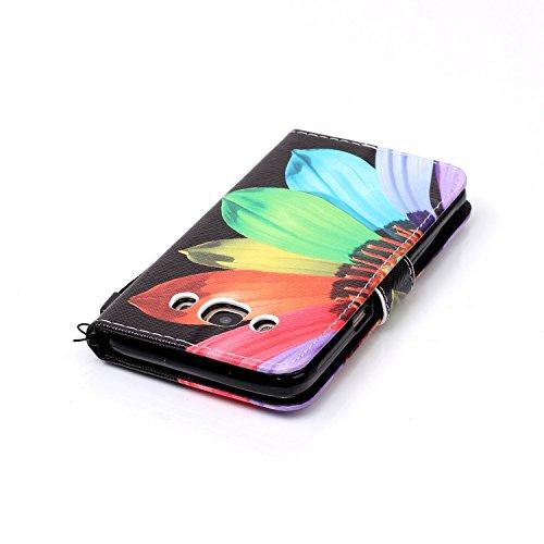 Para Smartphone Samsung Galaxy J5(2016) J510móvil, Funda de piel para Samsung Galaxy J5(2016) J510Flip Cover Funda Libro Con Tarjetero Función Atril magnético + Polvo Conector negro 3 4