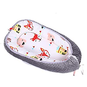 USTIDE Newborn Baby Nest Bed,Fox Baby Bassinet Cot Bed, 100% Organic Cotton Snuggle Baby Portable Crib Baby Lounger Perfect for Travel/Co-Sleeping