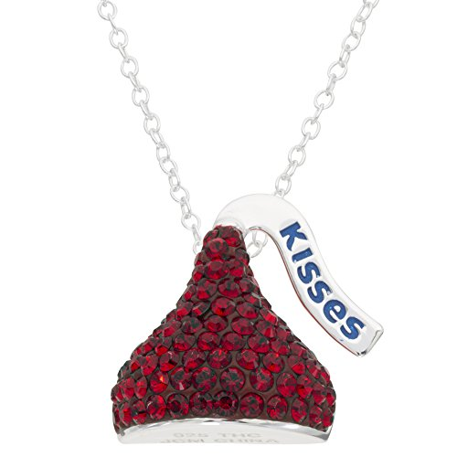 - Hershey's Kisses Birthstone Women's and Girls Jewelry Sterling Silver January Dark Red Siam Swarovski Crystal Pendant Necklace, 18