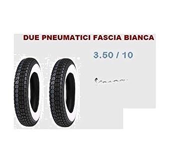 2 Neumáticos goma 3.50 - 10 A Banda Blanca Rueda Piaggio Vespa Rally 180 200: Amazon.es: Coche y moto