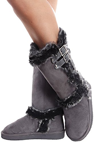Grey Furry Shearling Vegan Suede Buckle Women's Boots (Cheap Cowgirl Boots Under 20)