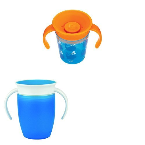 Munchkin Miracle 360 Trainer Cup, 6 oz/177 ml, Blue/Whales, Pack of 2