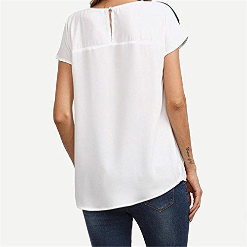 Colore Scuro Di Camicie shirt Cime Blu T Donna Corta Levifun Manica Estate Blocco A Maglietta Tops Chiffon Sciolto Blusa nB0Uw0