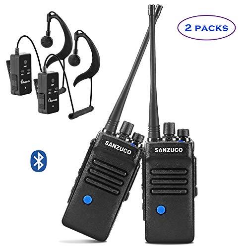 Two-Way Radios with Bluetooth Headset, Sanzuco UHF Handheld 2 Way Radios Rechargeable, Long Range Bluetooth Walkie Talkie (2 Packs)