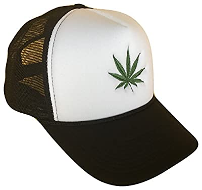 The Hat Shoppe Marijuana Leaf Classic Mesh Trucker Cap (One Size, Black/White)