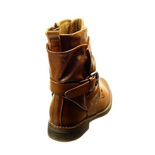 Angkorly - Zapatillas de Moda Botines mujer Hebilla cordones Talón Tacón ancho 2.5 CM - Camel