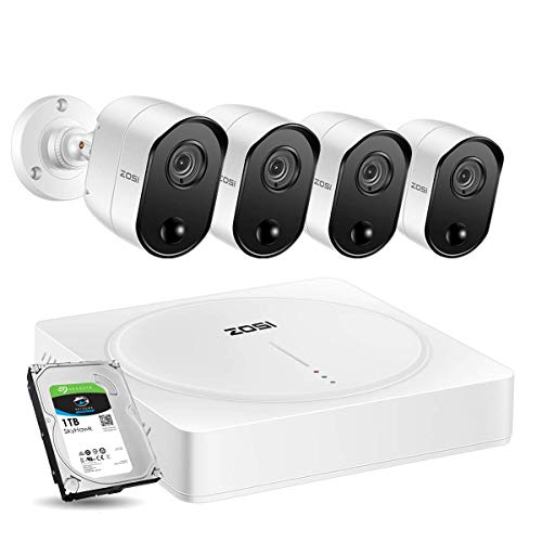 ZOSI 5.0MP 4CH Home Security Cameras System, H.265+ Surveillance 4 Channel DVR with (4) x 5MP Pir Motion Sensor Day & Night Vision Security Cameras with 1TB Hard Drive