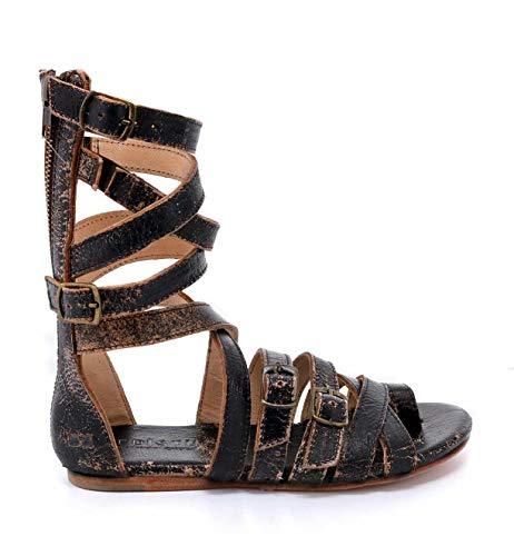 Bed|Stu Women's Seneca Leather Sandal (7.5 M US, Black Lux)