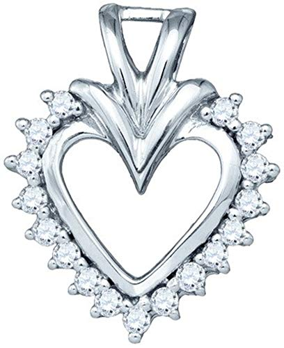 Aienid 10Kt White Gold 0.24ct Diamond Heart Pendant Necklace For Ladies