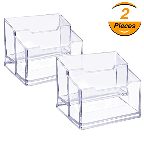 TecUnite 2 Pack Clear Business Card Holder 2 Tiers Acrylic Plastic Card Case Organizers for Desktop Display and Storage Fits 120 Business Cards - Business Storage
