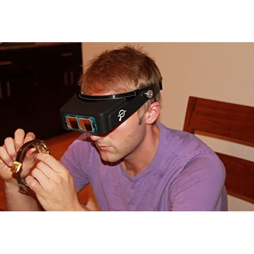 Magnifier Headset Magnifying Visor with 4 Real Glass Optical Lens Plates
