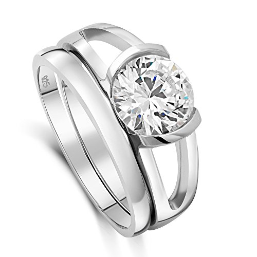 DTLA Sterling Silver CZ Solitaire Half Bezel Double Band Ring Set Sizes (Half Bezel Set)