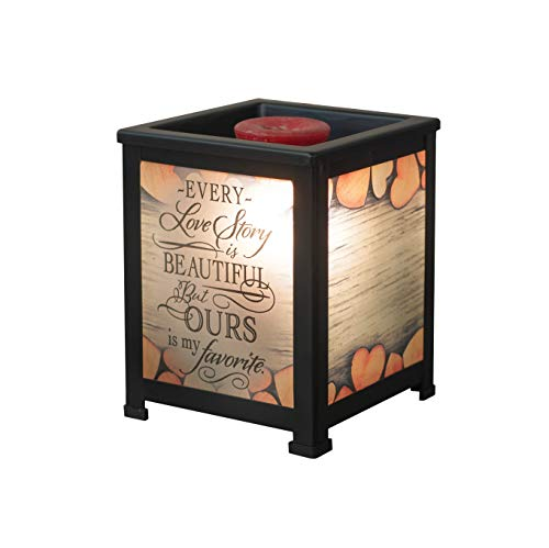Elanze Designs Love Story Ours My Favorite Hearts Black Metal Electrical Wax Tart & Oil Glass Lantern Warmer