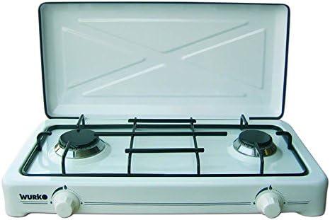 Wurko 027031 Cocina gas 2 fuegos, Blanco esmaltado