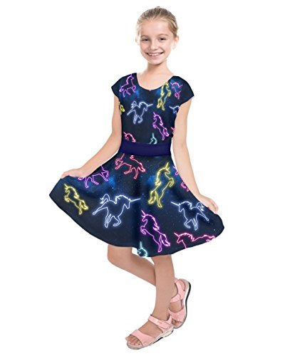 PattyCandy Girls Unicorn in Space Fashion Kids Short Sleeve Dress - 10 -