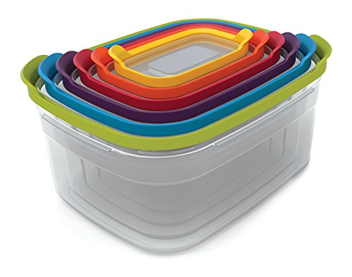 Joseph Joseph Set of 6 Compact Storage Containers with Assorted Color Lids