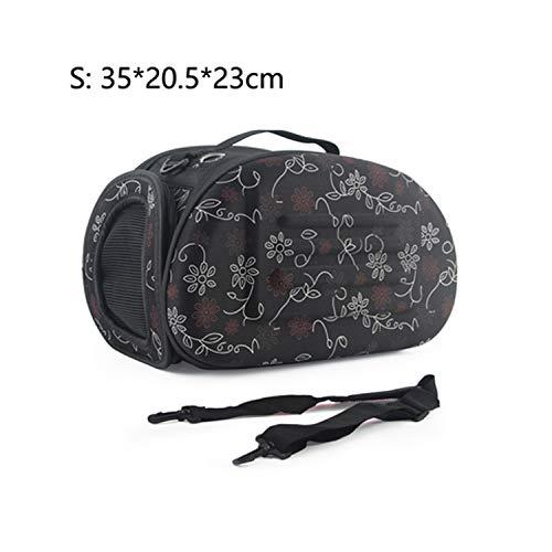 Dog Carrier Bag Portable Cats Handbag Foldable Travel Bag Puppy Carrying Mesh Shoulder Pet Bags S/M/L,S 35X20.5X23Cm Print