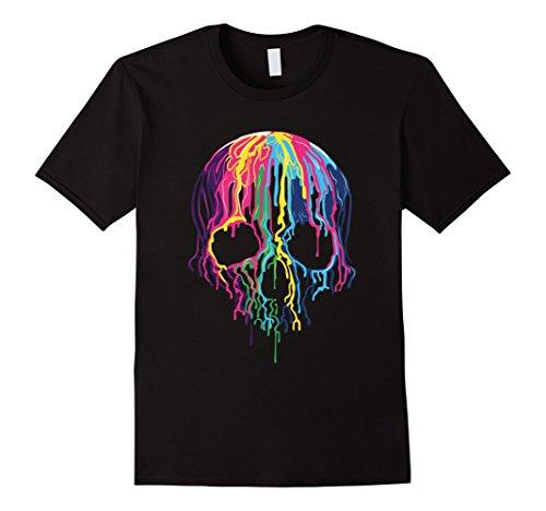 Mens Colorful Melting Skull Art Graphic Halloween TShirt XL Black (T-shirt Skull)