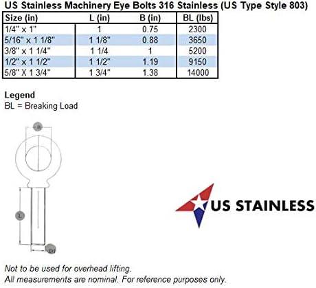4 Pieces Stainless Steel 316 5//16 x 1 1//8 UNC Machinery Eye Bolt Marine Grade