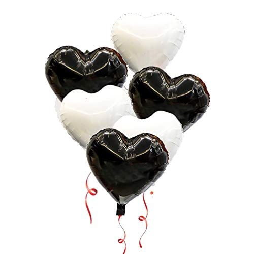 (AZOWA 30 Pcs Heart Balloons 18 inch Heart Shaped Foil Mylar Balloons White and Black for Valentine's Bridal Shower Wedding Birthday Party Decorations)