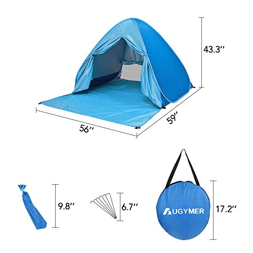 AUGYMER Pop Up Beach Tent, UV Protection Portable 2 Person Folding Shade Sun Shelters, Lightweight Hiking Camping Beach Canopy Cabana Backpacking Pop Up Tents