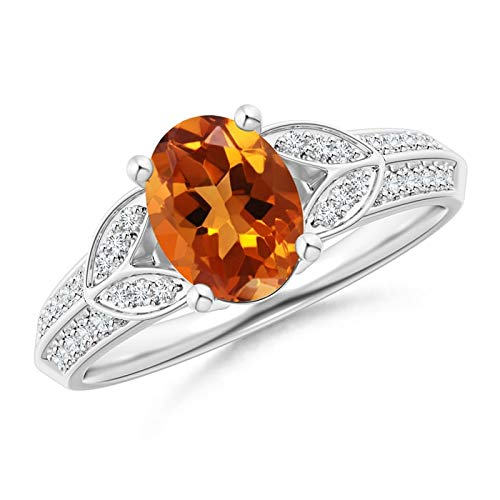 Knife-Edged Oval Citrine Solitaire Ring with Pave Diamonds in 14K White Gold (8x6mm Citrine)