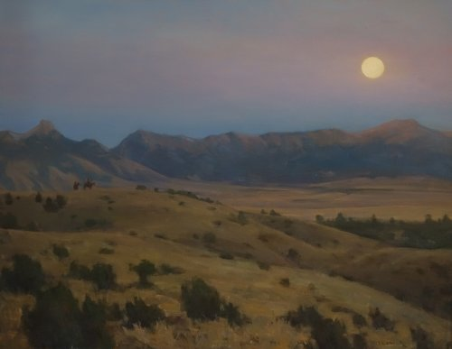Todd Abstract Painting - Moonrise Over the Bridgers