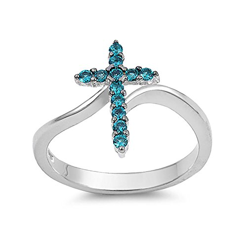 Peridot Blue Cross Topaz - Cross Ring Round Shape Simulated Blue Topaz 925 Sterling Silver