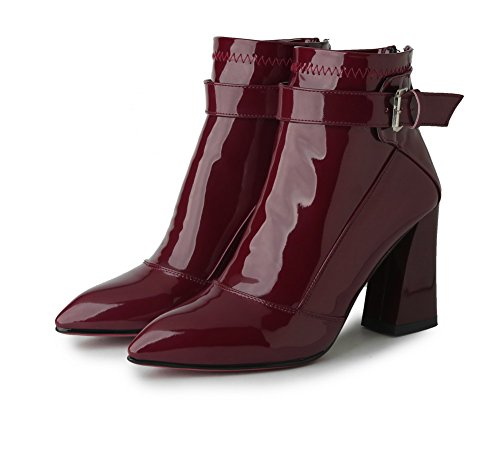 AllhqFashion Womens Solid Patent Leather High Heels Zipper Pointed Closed Toe Boots, Claret, 33