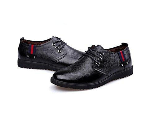 GRRONG Zapatos De Cuero De Los Hombres Del Ocio Traje De Etiqueta De Cuero Genuino Negro Marrón Black