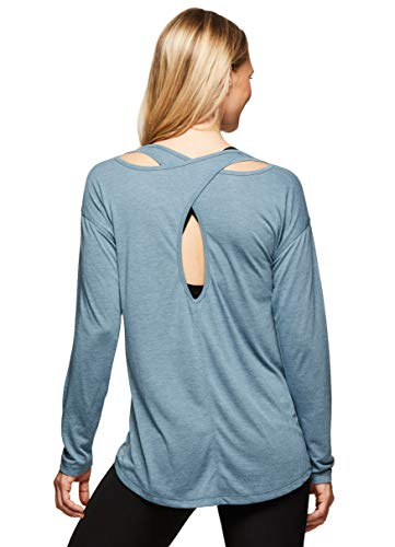 RBX Active Women's Yoga Open Back Long Sleeve Top S19 Teal L