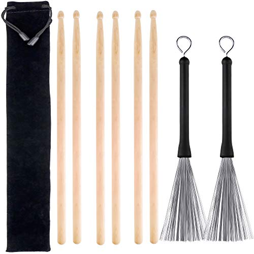 - 3 Pairs 5A Hard Maple Wood Drum Sticks and 1 Pair Retractable Drum Wire Brushes with a Storage Bag