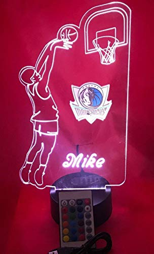 Dallas Beautiful Handmade Acrylic Personalized Mavericks NBA Basketball Player Light Up Lamp LED Lamp, Our Newest Feature - It's WOW, With Remote,16 Color Options, Dimmer, Free Engraved, Great Gift