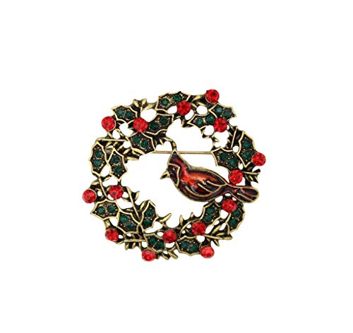 Mundus Collection Vintage Style 1.6-inch Rhinestone Holly Wreath with Perched Enamel Cardinal Brooch Pin Antique Gold Tone
