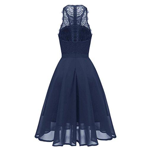 Kimodo Femmes Princesse Mousseline Vintage De Partie Dentelle Florale Robe Swing Aline Bleu