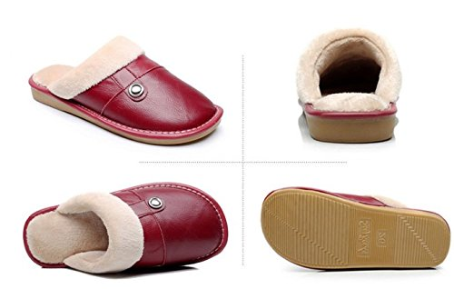 TELLW Winter Männer und Frauen Home Rinder Lint Pantoffeln Leder Warme Pantoffeln Warme Schuhe Rotwein rot