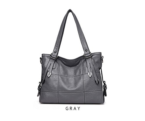 2017 New Fashion Patchwork Women Casual Shoulder Bag High Quality Black Pu Leather original Handbag Vintage Stitching Crossbody Bag sac ( Color Gray)