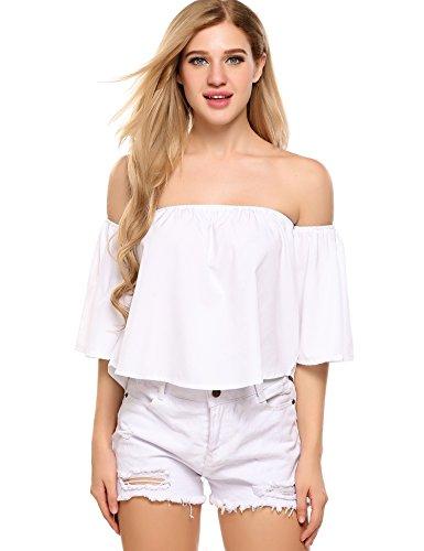 Zeagoo Women's Summer Bell Sleeve Loose Crop Top Shirt White Medium