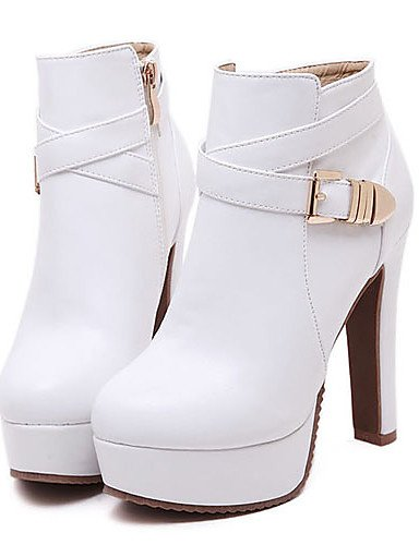 Vestido Plataforma Cn39 Botas Semicuero Eu39 Uk6 Blanco Redonda De Stiletto Tacón us8 Xzz Negro Mujer Punta Zapatos White Tacones HvqFBgxwS