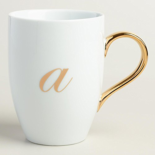 Gold Monogram White Porcelain Coffee Mug Tea Cup Letter A