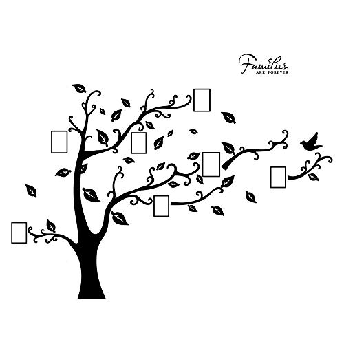 decalmile Large Family Tree Wall Stickers Removable DIY Photo Frame Home Decor Wall Decals for Living Room Bedroom