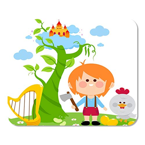 Suike Mousepad Computer Notepad Office Green Bean Jack and The Magic Beanstalk Stalk Kid Home School Game Player Computer Worker 9.5x7.9 Inch