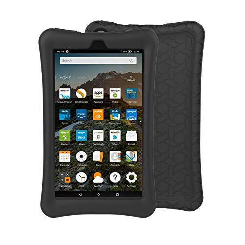 BMOUO Silicone Case for All-New Amazon Fire 7 Tablet (7th and 9th Gen, 2017 and 2019 Release) - Upgraded Comb Version Kids Friendly Light Weight Anti Slip Shock Proof Protective Cover, Black