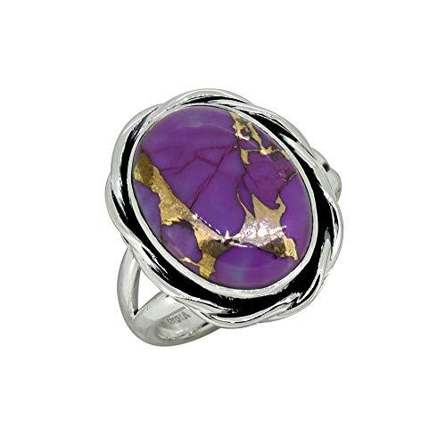 YoTreasure Purple Turquoise 925 Sterling Silver Split Shank Gemstone Ring