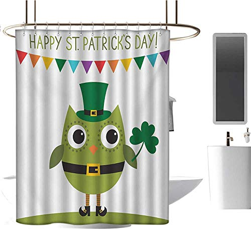 MKOK White Shower curtain72 x78 St. Patricks Day,Owl with Leprechaun Costume Greeting Design for Party Shamrock Pattern,Multicolor,Waterproof Washable Antibacterial Bathroom Curtain